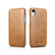 ICARER Luxus Vintage Echtem Leder Fall Für iPhone XR Hohe Qualität Handmade Flip Abdeckung Für iPhone XR Retro Leder Fall