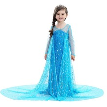 Girls Sequins Elsa Anna Costumes With Cloak Dress up with Long Train Children Halloween Christmas Party Fantasy Vestido