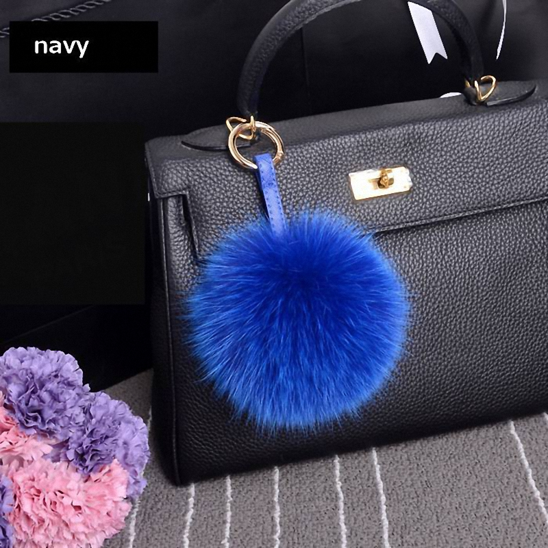 13-15cm Luxury Fluffy Real Fox Fur Ball Pom Pom Plush Size Genuine Fur Key Chain Metal Ring Pendant Bag Charm Fi-K010-blue