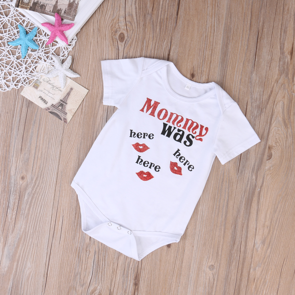 Newborn Kids Baby Mommy Was Here Bodysuit One-piece Sunsuit Clothes 0-24M