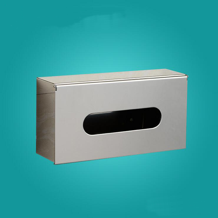 Stainless Steel bathroom tissue box holder square pull ... on Wall Mounted Tissue Box Holder id=43049