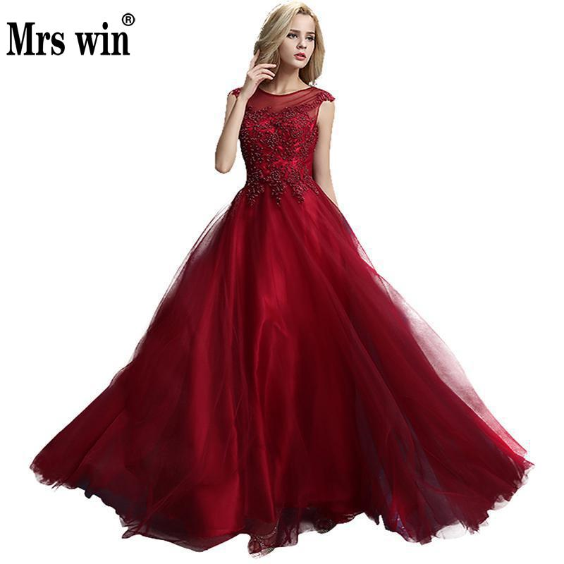 Robes De Soiree 2018 Longue Wine Red O Neck Beading A line Elegant Occasion Luxury Evening