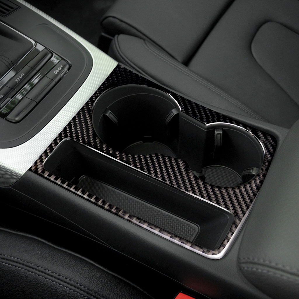 For Audi A5 A4 B8 2009-2015 Carbon Fiber Trim Cup Holder Decorative Frame Decal Cover Sticker Cover Car Styling Accessories Commodities Are Available Without Restriction
