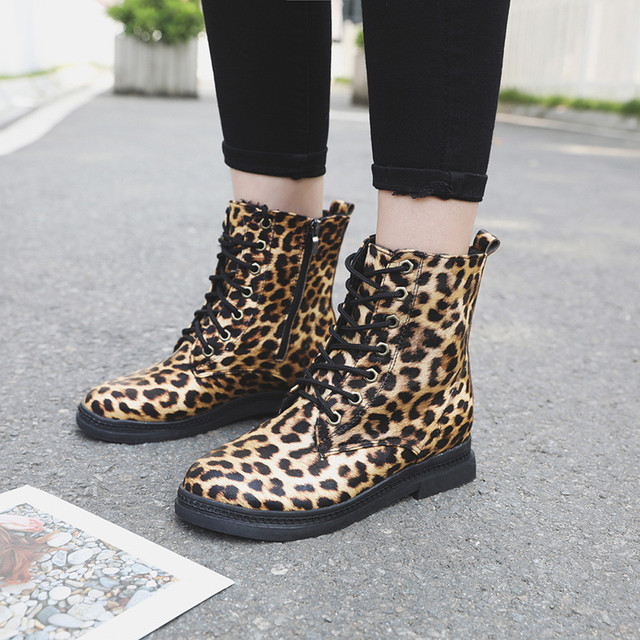 YOUYEDIAN Women Boots 2018 Winter Ankle Boots Leopard Print Lace Up Women  Casual Shoes Low Heel d959c9fabea4