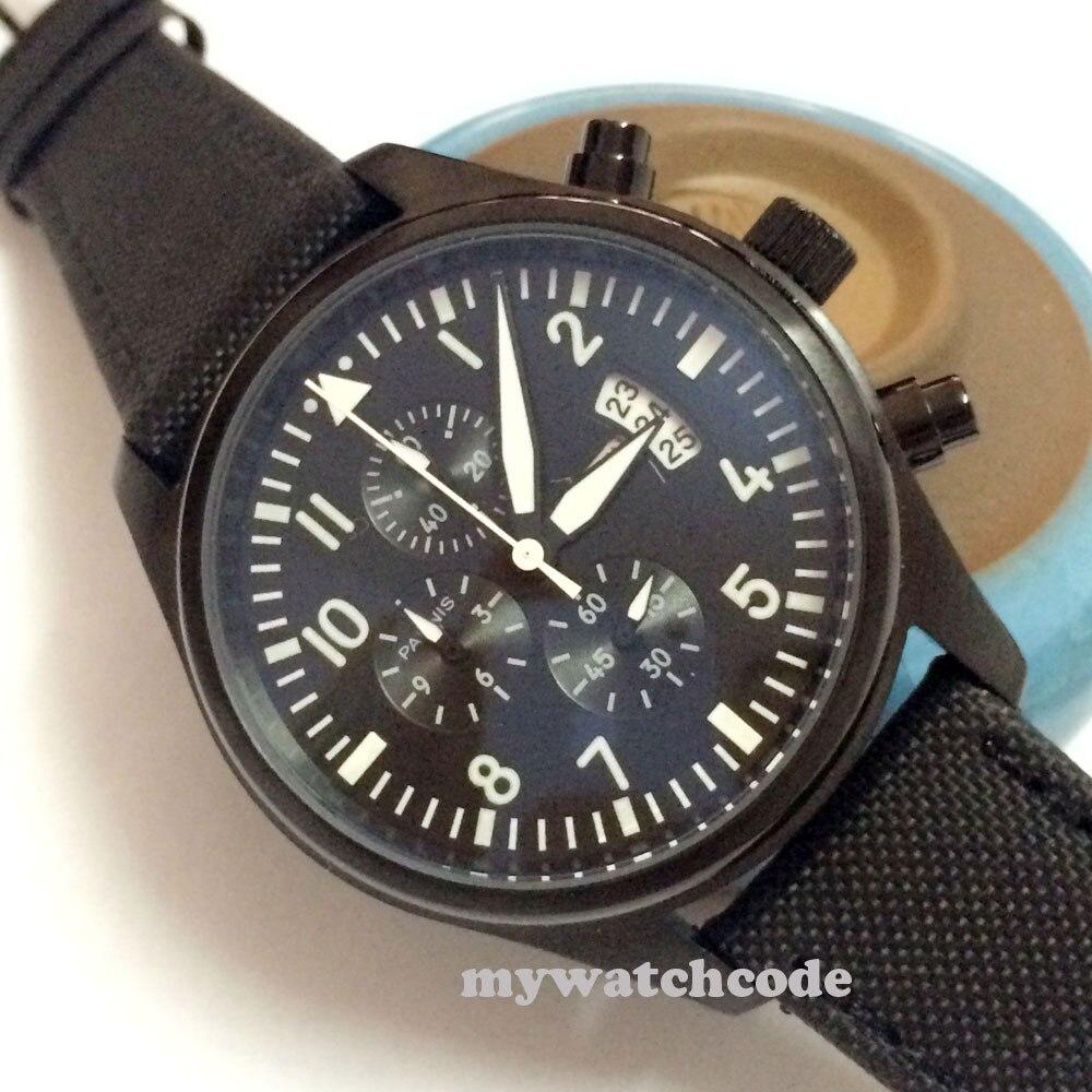 42mm parnis 블랙 다이얼 날짜 창 쿼츠 풀 크로노 그래프 남성 손목 시계 p284-에서수정 시계부터 시계 의  그룹 1