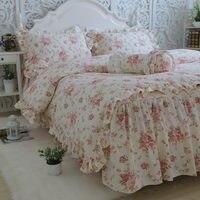 New Garden Flower Print Bedding Set Quality Full Cotton Ruffle Duvet Cover Elegant Bed Sheet Skirt Type Princess Bedspread