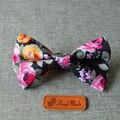 Mantieqing Algodão Bow Tie Homens Gravatás Bowtie para Noivo Do Casamento de Forma Magro Flor Impresso Do Vintage Floral Bowknots Empate