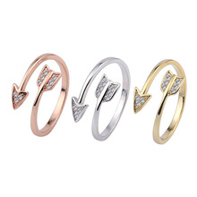 New LNRRABC Fashion Stainless Steel Arrow Crystal Open Rings For Women Adjustable Engagement Female Party Finger Ring Jewelry