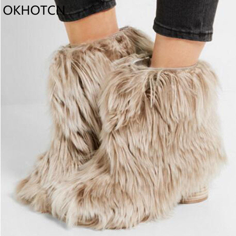 OKHOTCN Handmade Ankle Boots For Women Warm High Heel Shoes Women Full Fur Round Winter Boots Fashion Short Snow Boots Woman