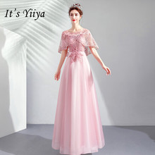 It's YiiYa Evening Dress A Line Full Beading Crystal Shawl Design Party Dresses O-neck Illusion Lace Short Sleeve Prom Gown E148