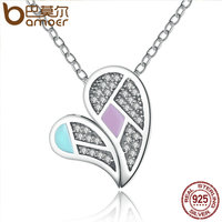 BAMOER New Collection Genuine 100 925 Sterling Silver Colourful Love Heart Forever Necklaces Pendants Jewelry SCN064