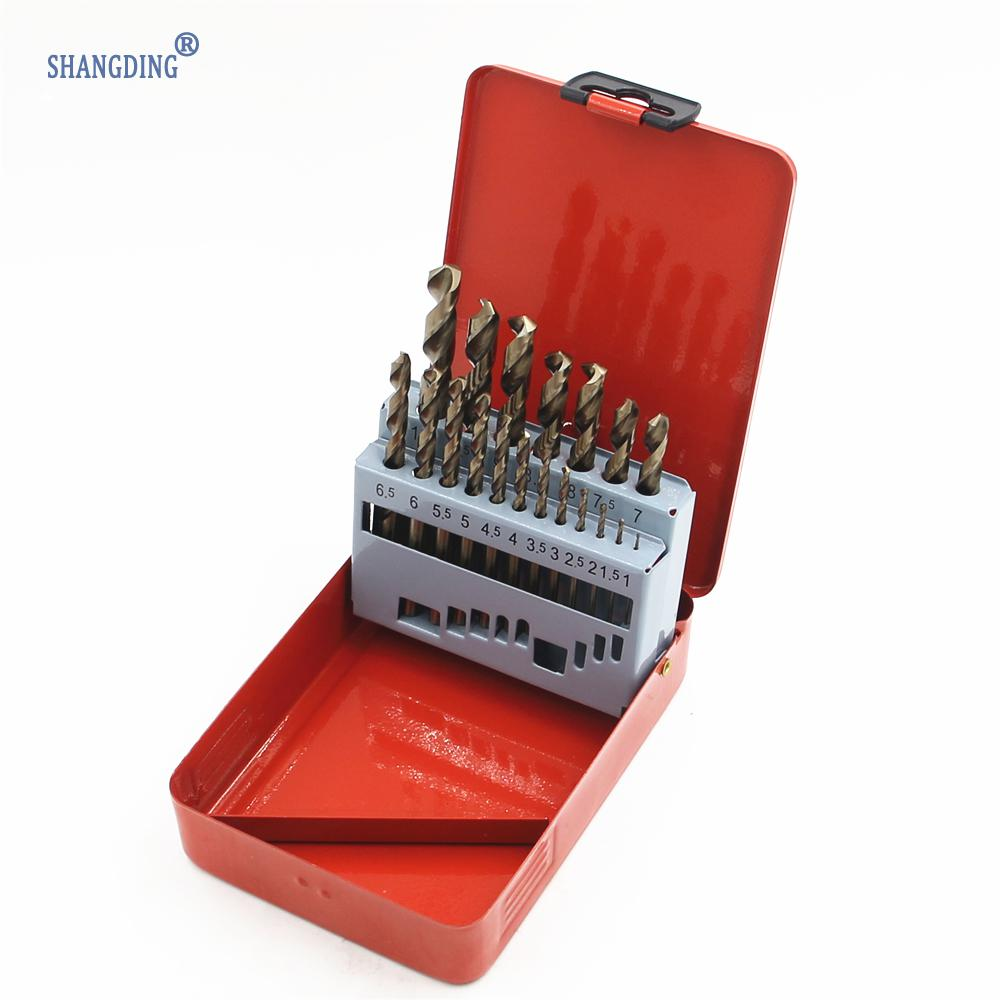 New High Standard 19Pcs/set M35 Twist Drill Bit Set Power Tools Hand Tool Accessory HSS-co Stainless Steel drilling new 50mm concrete cement wall hole saw set with drill bit 200mm rod wrench for power tool