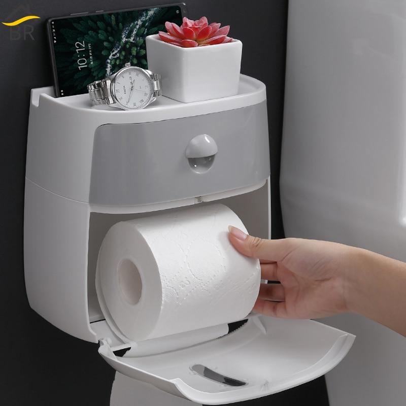 Waterproof Wall Mounted Bathroom Toilet Paper Holder Phone Holder Storage Box