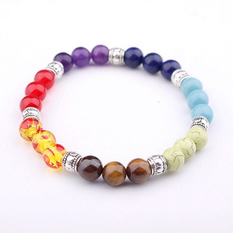 2017 Newst 7 Chakra Bracelet Men Black Lava Healing Balance Beads Reiki Buddha Prayer Natural Stone Yoga Bracelet For Women 5