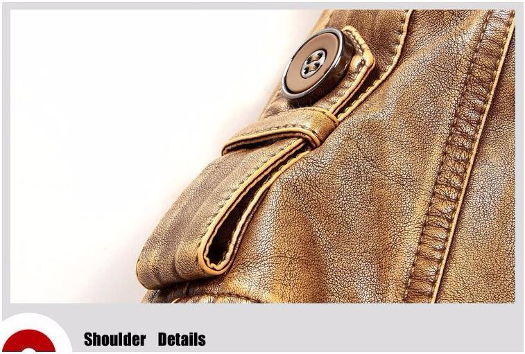 fur collar leather jacket men