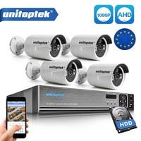 Безопасности Камера Системы 4Ch система AHD CCTV DVR комплект 4 шт 1080 P 2.0MP цилиндрическая камера видеонаблюдения Открытый AHD H видео набор для наблю