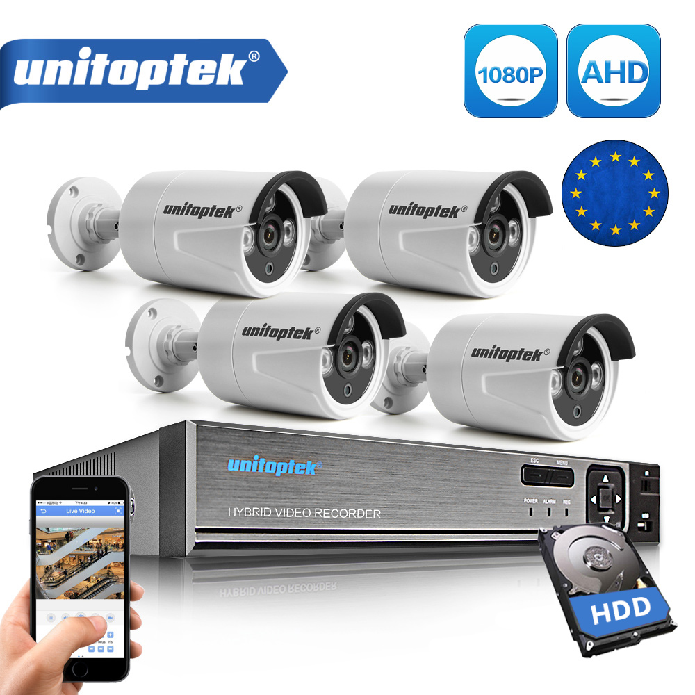 Security Camera System 4Ch AHD CCTV System DVR Kit 4Pcs 1080P 2.0MP Security Bullet Camera Outdoor AHD-H Video Surveillance Set стоимость