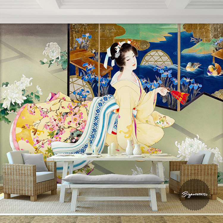 Kimono Beauty Wall Mural Sakura Photo Wallpaper Custom 3D
