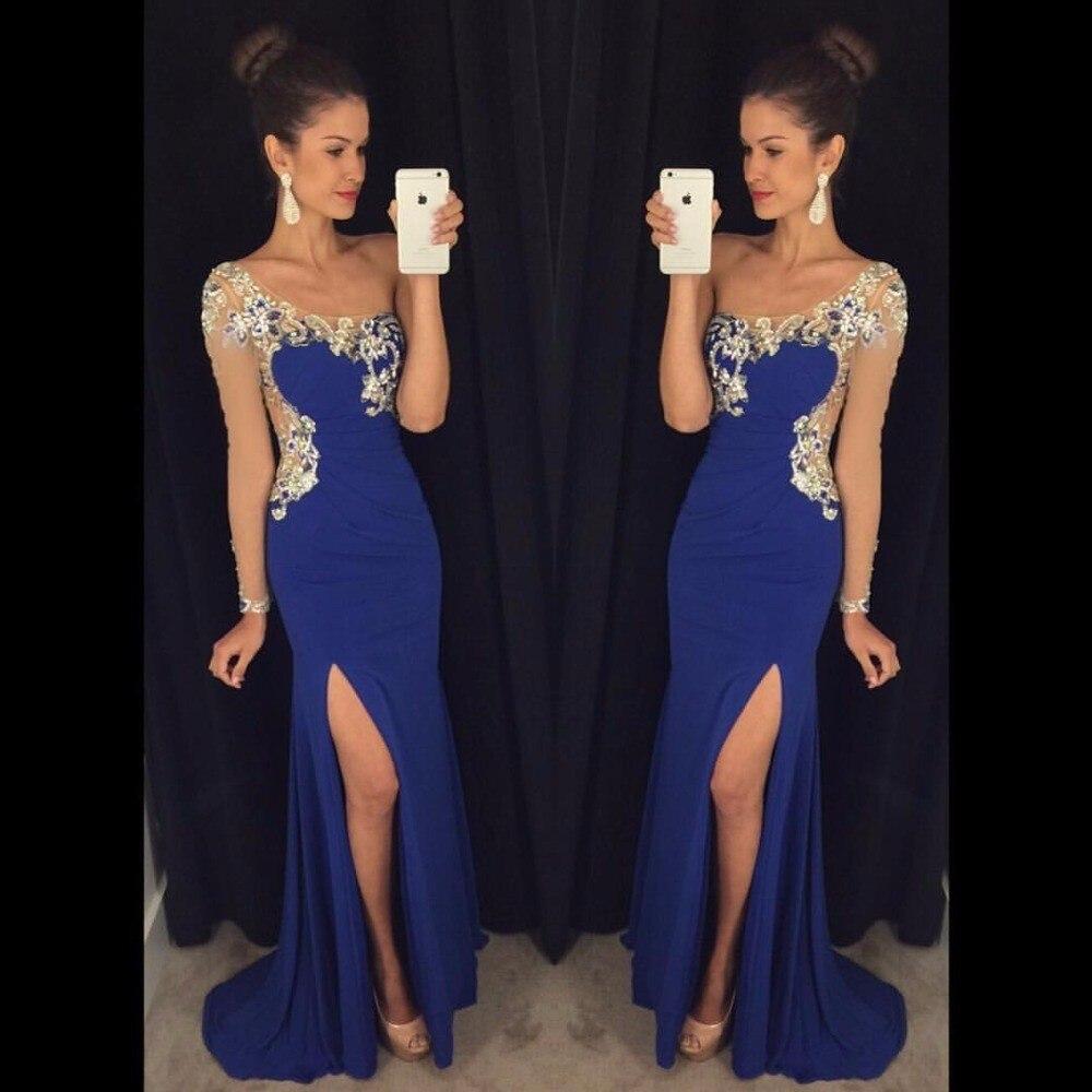 2017 Royal Blue One Shoulder Beading Mermaid Long Evening Dresses Plus Size Backless Slit Chiffon Prom Dress Vestido De Noche