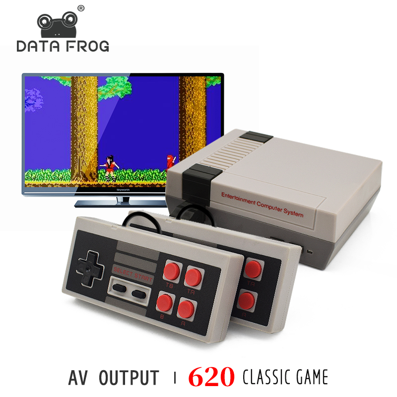 DATA FROG TV Video Game Console Built In 620 Games 8 Bit Retro Game Console Handheld Gaming Player Best Gift free shipping-in Handheld Game Players from Consumer Electronics