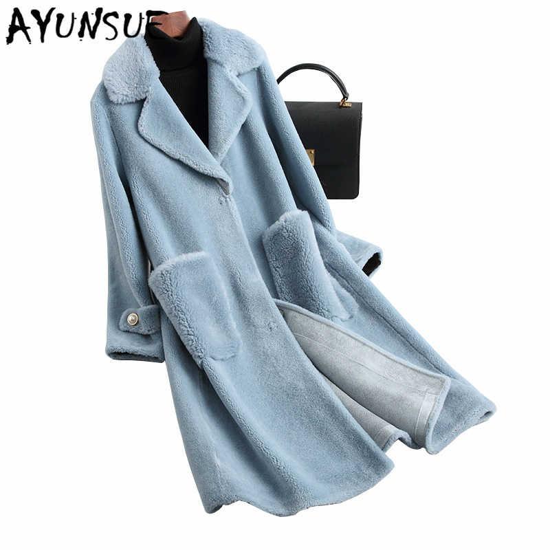 Ayunsue Nyata Bulu Mantel Wanita Pakaian 2019 Korea Fashion Anggun Slim Kasual Wol Panjang Jaket Merah Biru Mantel Hiver 19017LW536
