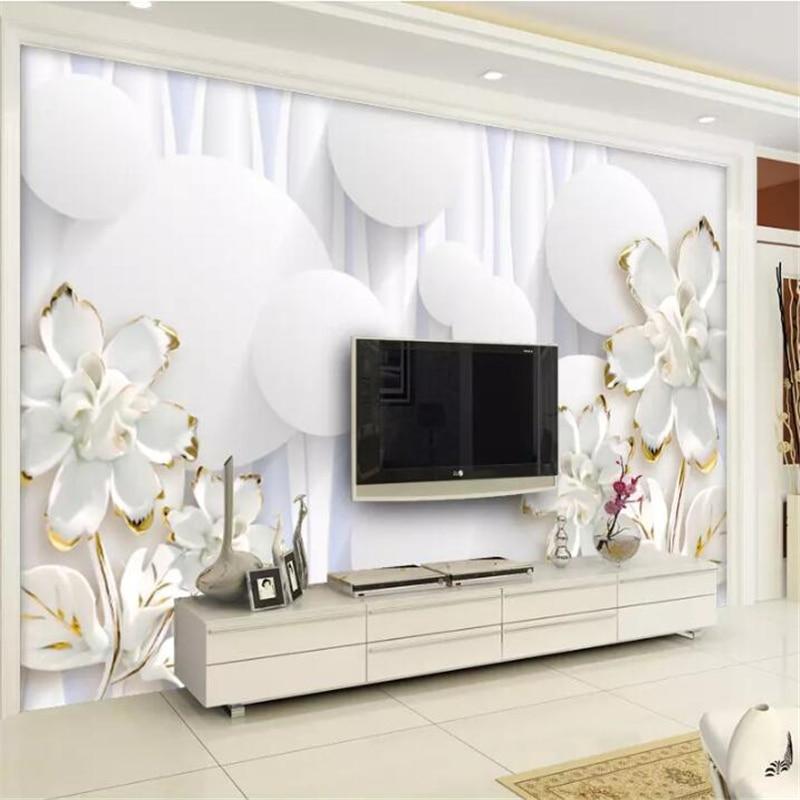 Beibehang Custom Wallpaper 3d Mural Circle White Flowers TV Background Wall 5d Decorative Painting Papel De Parede 8d Wallpaper