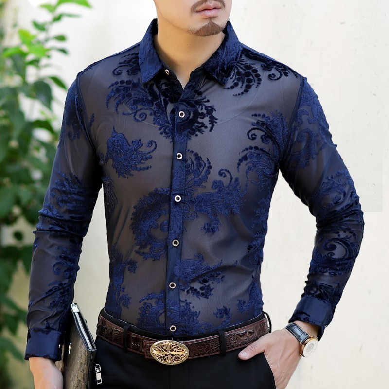 Sexy See Through Flower Shirt Men 2018 Autumn Black Blue Burn Out Velvet Shirt Men Button Business Casual Sexy Party Shirt Men