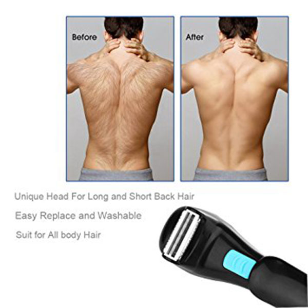 Men Shaving 180 Degrees Foldable Electric Back Hair Shaver Battery Manual Long Handle Hair Remover 1 Razor & 2 Blades