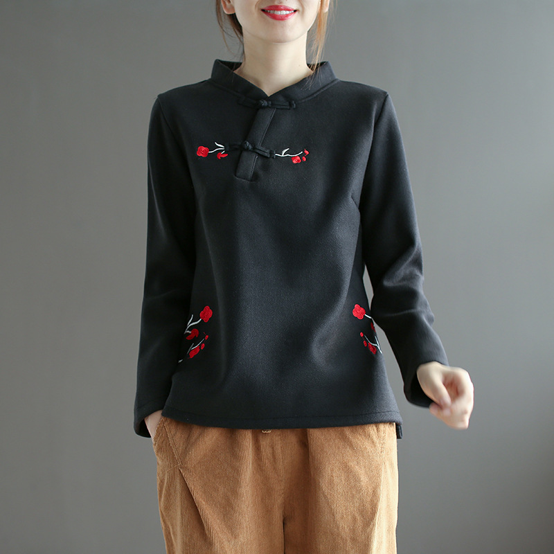 Pullover Stand Sweater Black Collar Woolen Buttons Embroidery Winter Loose Autumn pink Wind red Plate Female Chinese Vintage qwnxv6XzF6