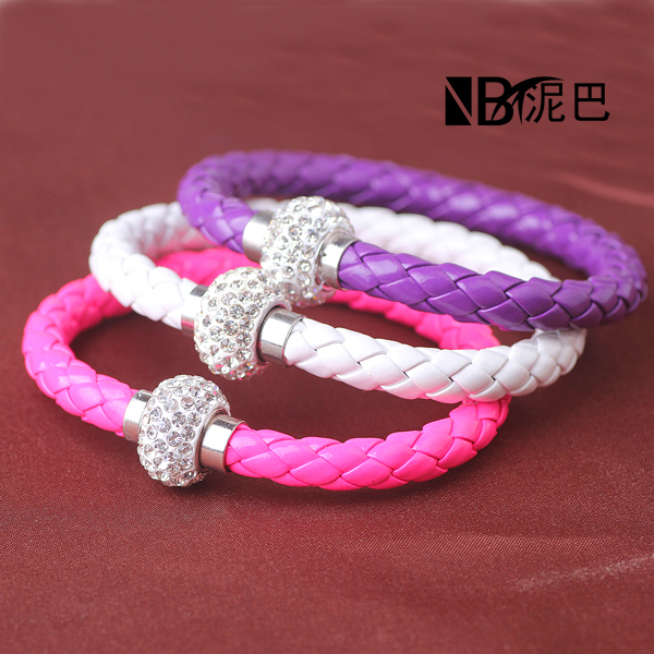Factory Discount Prices Dropshipping New Fashion PU Leather Wrap Bracelets Wristband bangles