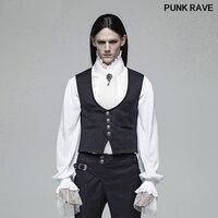 Gothic Retro Casual Men Vest Fashion Victorian Gentleman England Style Simple Dark Blue Jacquard Waistcoat PUNK RAVE WY 992MJM