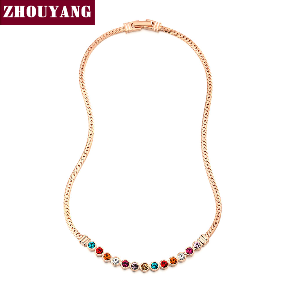 Candy Colors CZ Crystal Rose Gold Color Chain Necklace ...