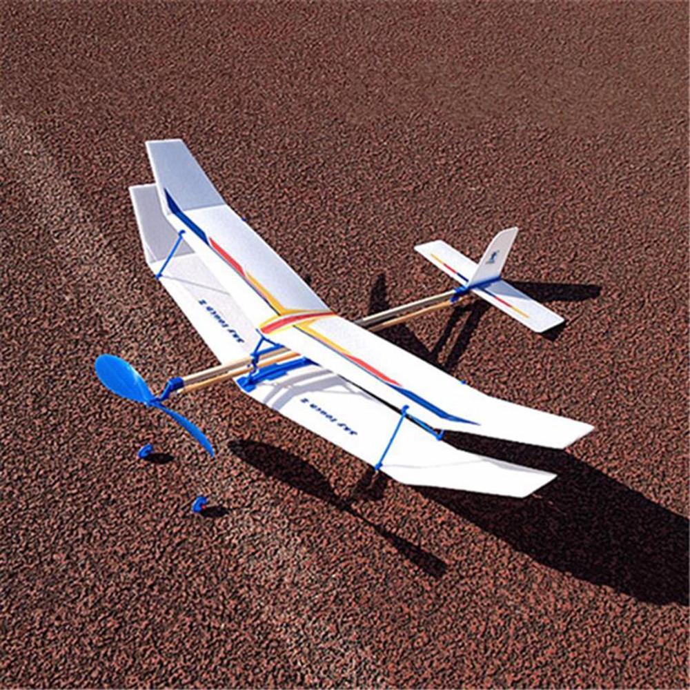 Banda Goma Funciona Planeador Volador Avión Modelo DIY Ensamblaje Regalo Juguete
