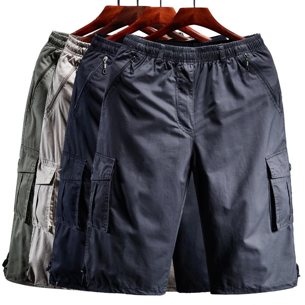 Cargo Shorts Men Zipper Pocket Many Men's Breeche Long Length 3/4 Capri Short Pant Cotton Bermuda Summer 2019 Casual Male Shorts