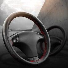 Auto Lenkrad Abdeckungen Passt Äußere Durchmesser von 37 38CM DIY Echtem Leder Geflecht Auf Die Lenkung  rad Von Auto
