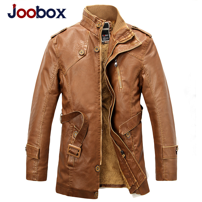 Brand Men Leather Jacket Fashion Men's Motorcycle Jacket Outerwear Winter Cotton Liner Warm Male Faux Leather Jackets Coat