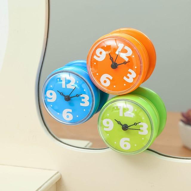 Kitchen Fridge Waterproof Clocks Shower Mini Wall Clock Bathroom Suction On Mirror Watches