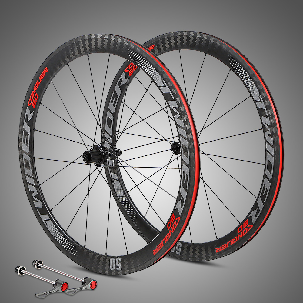 RS-C50 Bicycle wheel 700C 12K carbono racing road bike wheels 50mm depth Tubular Clincher carbon bicycle rim wheels Wheelset carbon 3 spoke wheel 700c ruedas carbono tt frame road use bicycle trispoke wheel for road and track venue wheels
