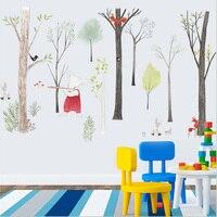 צפון אירופה קריקטורה יער מדבקות קיר משתלת חדר ילדים דקור חדר שינה טלוויזיה רקע טפט פוסטר אמנות