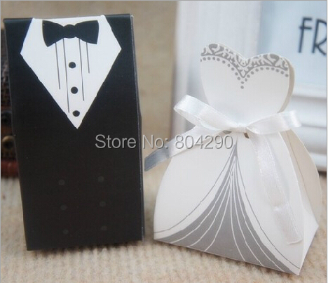 black and white bridal gift cases groom tuxedo dress gown ribbon wedding supply and gift wedding
