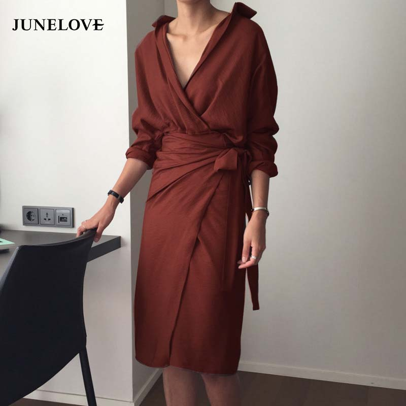 f55c2f1e6167f JuneLove Women Spring Long Sleeve V-Neck Maxi Dress Female Vintage Sashes  Long Straight Dress Casual Lady Sexy Formal Dress