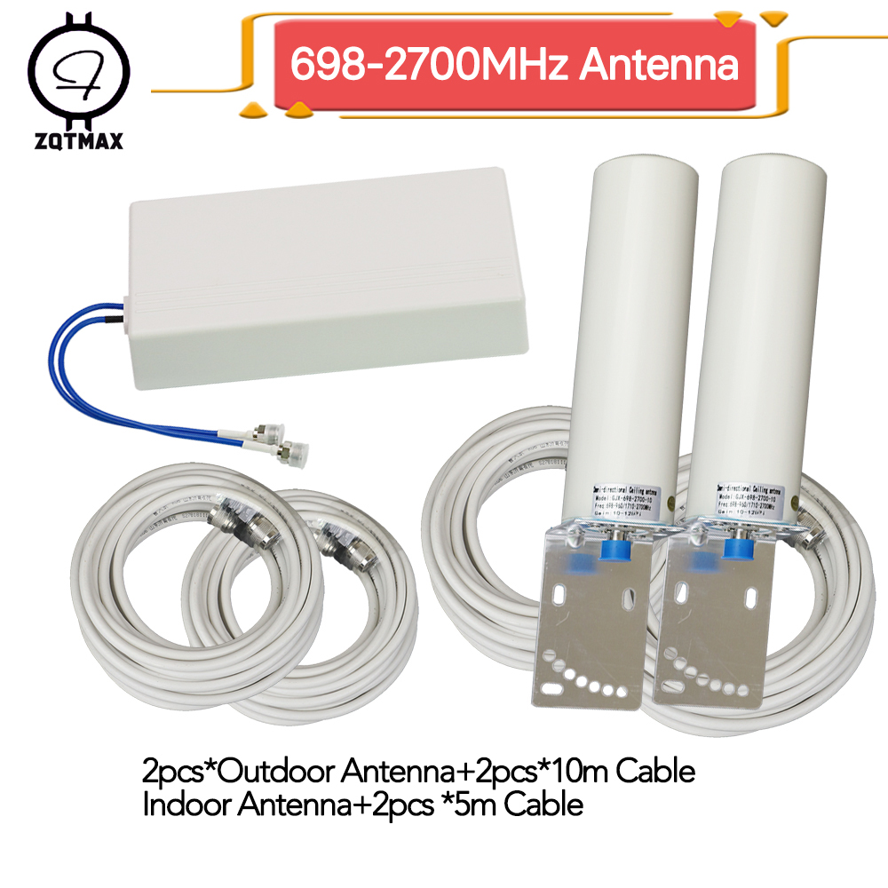 ZQTMAX 2g 3g 4g antenna 1 to 2 for 850 900 1800 2100 2600 1900 mobile signal booster UMTS LTE internet amplifier+30m cable