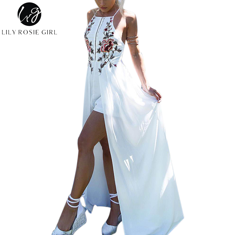 Lily Rosie Girl White Embroidery Floral Sexy Party Playsuits Split Autumn Winter Backless Jumpsuits Short Beach