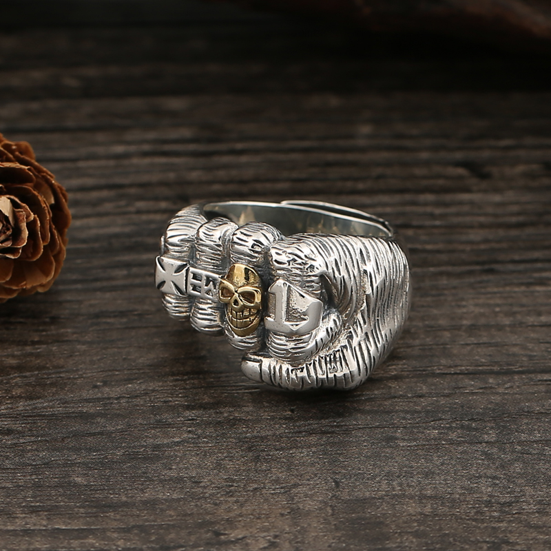 S925 sterling silver old fist open ring domineering punk personality open ring in Rings from Jewelry Accessories
