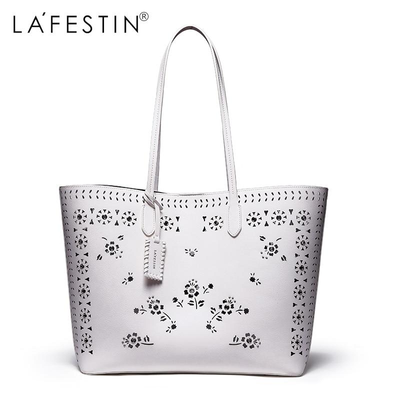 LAFESTIN Brand Women Handbag Luxury Hollow Large Top-Handle Bag High Capacity Shoulder Bag High Quality Women Famous Brands famous brand women bag high quality 100
