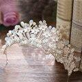 Azul claro de Cristal Corona Nupcial Tiara Velo Flor de La Aleación de Lujo Mujeres Hairband Tocado Pelo de la Boda Accesorios de La Novia Diadema
