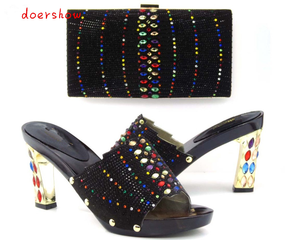 doershow Italian shoe with matching bag for wedding african shoe and bag set new design ladies