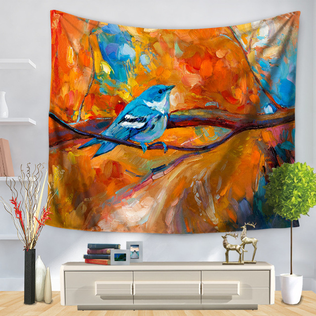 Sunnyrain 1 Piece Artistic Scenery Tapestry Warm Colors Painting Indian 130cmx150cm 150cmx200cm Boho Wall