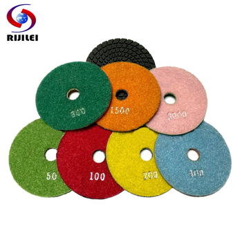 RIJILEI 7PCS/Set 4Inch Wet Diamond Polishing Pads 80 MM Flexible Granite Polishing Pad Grinding Discs For Marble Concrete Floor rijilei 7pcs set 5inch white diamond polishing pad 125mm wet polishing pads for stone concrete floor polishing tool hc15