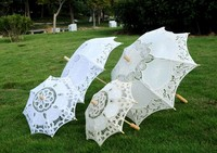 High quality Handmade White Lace Parasol Vintage Wedding Bridal Umbrella For Bridal Wedding Decoration DIY Party Supplies